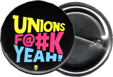 Black button with Unions F@#k Yeah! logo