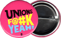 Our logo on a pink pin-back button.