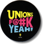 Unions F@#k Yeah! logo on a black decal.