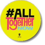 All Together Now hashtag logo on a yellow decal.