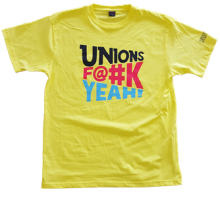 Yellow cotton T-shirt with our Unions F@#k Yeah! logo.