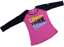 Women's pink baseball T-shirt with Unions F@#k Yeah logo
